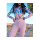 Popular Graffiti Long Sleeve High Neck Sexy Pink Bodysuit