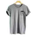 Cup Letter Printed Crewneck Short Sleeve Unisex Gray Tee
