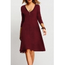 V Neck Long Sleeve Plain Chic Mini A-Line Dress