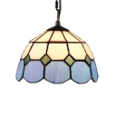Simple Hanging Lamp with Tiffany-Style Dome Glass Shade in White & Green, 8