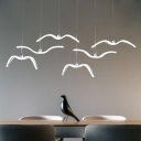 Sea Gull LED Hanging Pendant Light Modern Acrylic 1 Light Pendant Lamp in White Finish for Bedroom Cafe