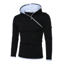 Unique Stylish Sloping Half-Zip Front Long Sleeve Contrast Trim Slim Fit Pullover Hoodie