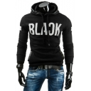 Fashion Classic Letter BLACK Pattern Long Sleeve PU Patched Trim Pullover Fitted Hoodie for Guys