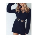 V Neck Long Sleeve Lace Up Front Mini Sweater Dress