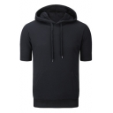 Men's Sports Bodybuilding Basketball Short Sleeve Solid Casual Fitted Drawstring Hoodie