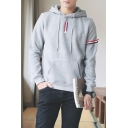 Guys Fashion Red and White and Blue Striped Printed Long Sleeve Regular Fitted Hoodie