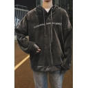 Guys Fashion Letter Pattern Front Long Sleeve Boxy Relaxed Velvet Drawstring Hoodie