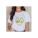 Cute Avocado Letter LET'S AVOCUDDLE PLUSHIES Printed Short Sleeve Round Neck White Relaxed Tee