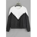 Hot Popular Colorblock Chevron Pattern Lace Patched Black Leisure Sweatshirt
