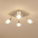 Bubble Shade Semi Flush Mount Light Modernism Clear Glass Multi Light Lighting Fixture
