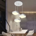 3 Lights Square LED Pendant Ceiling Lights Modern Lighting Metal Hanging Lamp in White