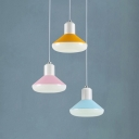 3 Lights Round Canopy Hanging Pendant Macaron Nordic Style Acrylic LED Gourd Pendant Lights