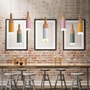 Bottle Shape Pendant Lamp Macaron Colorful Wooden 3 Light Hanging Pendant Light Third Gear