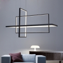 Super Thin Rectangular Pendant Lamp Modern Metal Multi Light Pendant for Restaurant