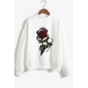 Romantic Long Sleeve Mock Neck Rose Flower Printed White Sports Casual Sweatshirt