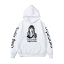 American Singer Casual Long Sleeve Figure Letter REPUTATION Character Printed Regular Fitted Hoodie