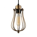 Old Copper 1 Light Wire Guard Pendant Lamp in Industrial Style