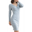 Ladies Graceful Chic Twist V-Neck Long Sleeve Simple Plain Mini Grey Knit Pencil Dress