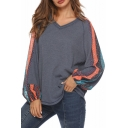 Fashion Tribal Printed Puff Sleeve V-Neck Casual Loose Knit T-Shirt