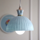 Lovely Dome 1/3 Light Suspended Lamp with Dress Design Light Blue/Pink Plastic Pendant Light for Girls Bedroom
