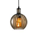 Single Head Flask Lighting Fixture Simplicity Glass Shade Drop Light in Amber/Clear/Smoke