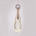 Crystal Teardrop Pendant Lamp Contemporary Single Light Hanging Light for Bedroom