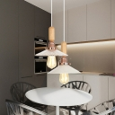 Shallow Flared Pendant Lamp Modern Design Transparent Glass 1 Head Suspended Lamp