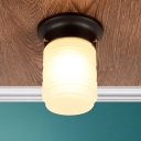 Ripple Glass Cylinder Ceiling Light Modern Design 1 Head Flush Mount Light in Black for Corridor