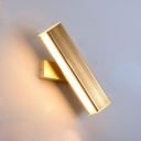 Rotatable 1 Head Linear Sconce Light Minimalist Aluminum LED Lighting Fixture in Gold for Bedside