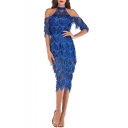 Ladies Graceful Halter Neck Cold Shoulder Fringed Hem Midi Pencil Sequined Evening Dress