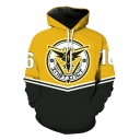 Fashion Two-Tone Colorblock Letter INSTINCT Badge Printed Cool Yellow Hoodie for Guys