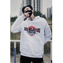 Fashion Cool Letter IRON WHEELS READY TO RIDE Print Loose Casual Unisex Hoodie
