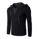 Men's Stylish Patchwork Button Embellished Long Sleeve Thin Slim Fitted Hoodie