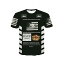 Men's Street Style Hip Hop Fashion Letter HBA Striped Print Black Fitted T-Shirt