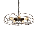 Industrial Fan LED Pendant Light Suspension in Wrought Iron Style, Five-light