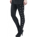 Women's New Stylish Black Elastic Waist Lace-Up Side Skinny Stretch Leggings