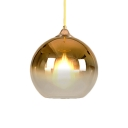 Faded Glass Ball Drop Light Modern Fashion 1 Light Pendant Lamp in Gold for Sitting Room