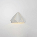 1 Bulb Origami Hanging Lamp Stylish Modern Steel Ceiling Pendant Light in White for Porch