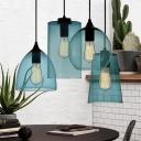 Blue Glass Geometric Drop Light Minimalist Single Light Suspended Light for Bedroom