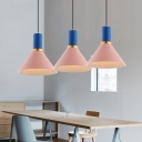 Pink Finish Cone Pendant Lamp Minimalist Metal 1 Head Drop Ceiling Lighting for Kids