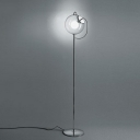 Single Head Ball Floor Light Simplicity Clear Glass 1 Bulb Standing Light in Chrome Finish