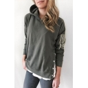 Women's Retro Army Green Fashion Zip Embellished Long Sleeve Button Side Fitted Hoodie