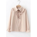 Fancy Ruffled Hem Bell Cuff Long Sleeve Bow-Tied Collar Button Down Shirt