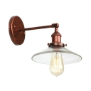 Clear Glass Armed Wall Lamp with Shallow Round Shade Loft Style 1 Light Sconce Light in Rust for Foyer