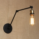 Open Bulb Wall Lighting with Adjustable Arm Retro Style Metallic Single Head Wall Lamp in Brass