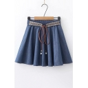 Tribal Print Bow-Tied Elastic Waist Mini A-Line Pleated Chambray Skirt with Liner