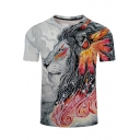 3D Colorful Lion Printed Men's Sport Fitted Black Short Sleeve T-Shirt