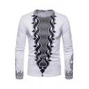 Fashion Tribal Print Round Neck Long Sleeve White Fitted T-Shirt for Men