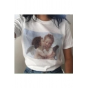 Cute Angel Baby Print Basic Round Neck Short Sleeve Fitted T-Shirt