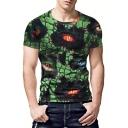 Men's Stylish Creative 3D Eye Print Green Short Sleeve T-Shirt